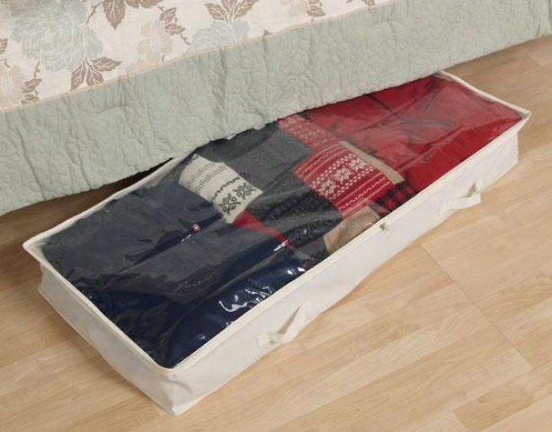 """canvas Underbed Storage Bag - 6""""hx41""""w, Ivory"""