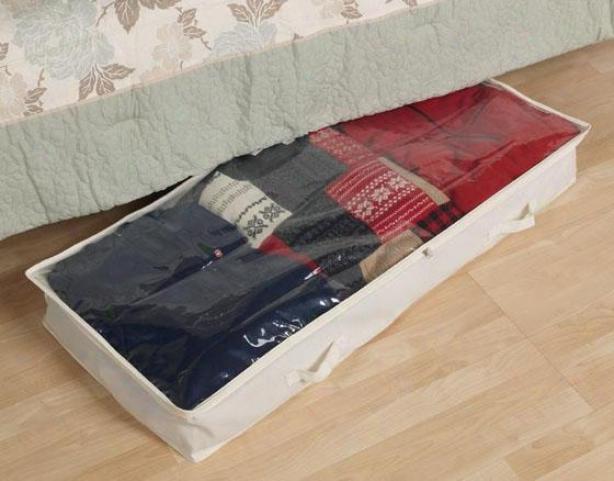 """""""canvas Underbed Storage Bag - 6""""""""hx41""""""""w, Ivory"""""""