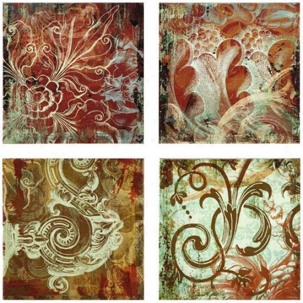 """canvas Wall Panels - Set Of 4 - 12.25""""hx12.5""""w, Red"""