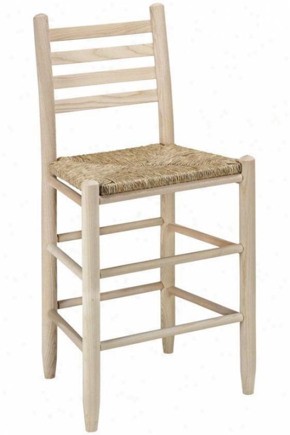 """carolina Ladder-back Reckoner Stool - 24""""barstool, Brown Wood"""