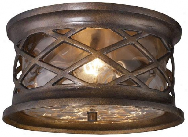 """carrington Manor Outdoor Flush Mount - 6""""hx12""""w, Hazelnut Bronze"""