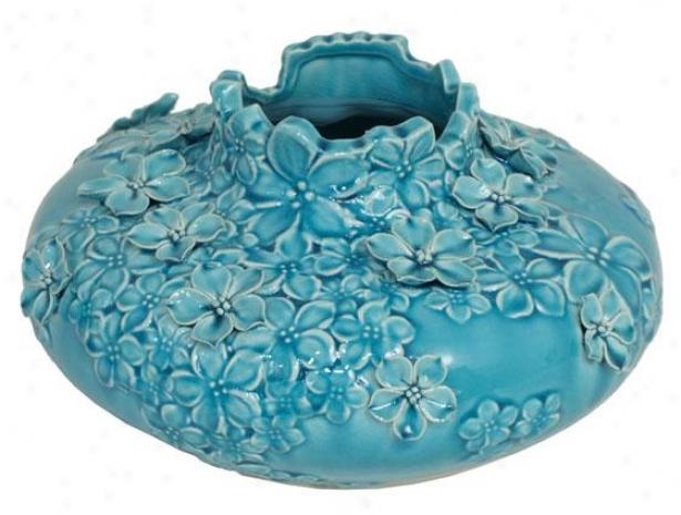 """""""cassie Ceramic Vase - 12""""""""d, Aq8a Blue"""""""