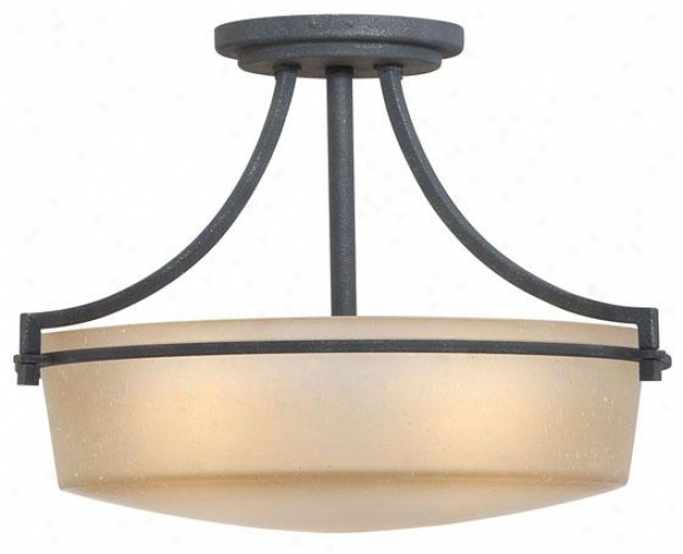 Catherine 3-light Semi-flush Mount - 3-light, Grey Ash