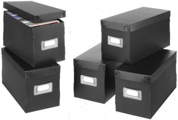 Cd Boxes - Set Of 5 - Set Of 5, Black