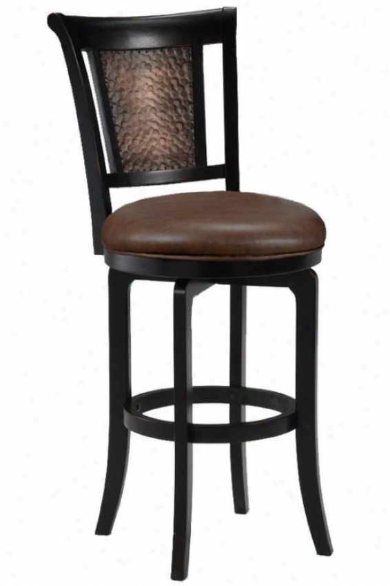 Cecily Swivel Reckoner Stool - Brown Vinyl, Dismal