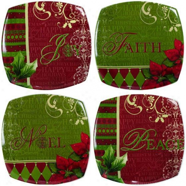 Ceramic Dessert Plates - Set Of 4 - 8x8, Green
