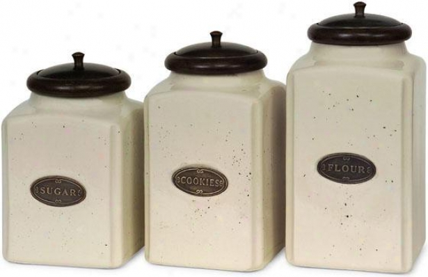 Ceramic Ivory Canisters - Set Of 3 - Set Of Three, Brown