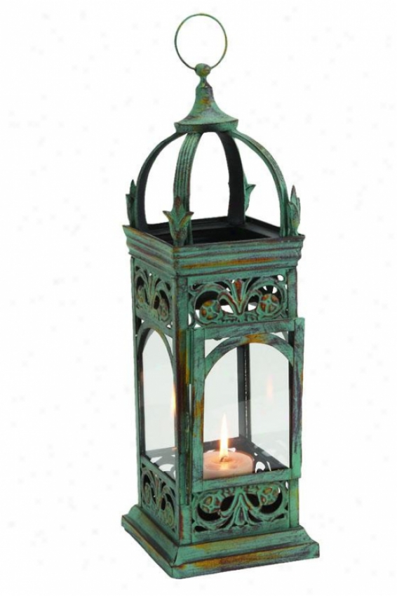 """chandan Lantern - 23""""hx9""""w, Green Metal"""