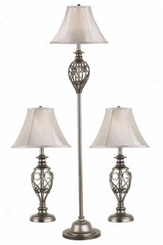 Charisse Lamps - Set Of 3 - Set/3, Silver