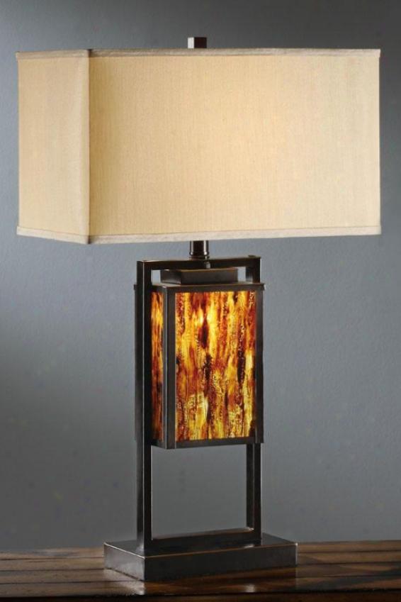 """charla Metal & Painted Glass Bronze Table Lamp - 29""""h, Bronze"""