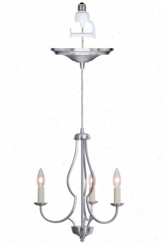 """charlotte Small Instant Chandelier Light Conversion Kit - 17""""hx20""""d, Silver Nickel"""