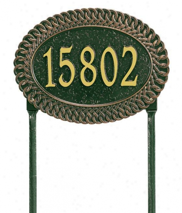 Chartwell Standard Lawn Address Plaque - Standard, Green