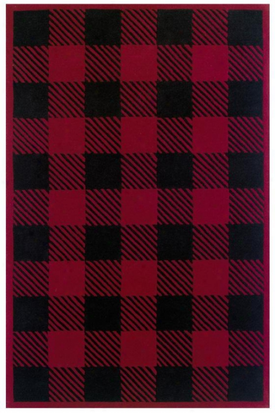 Checkers Rug - 5'x8', Red
