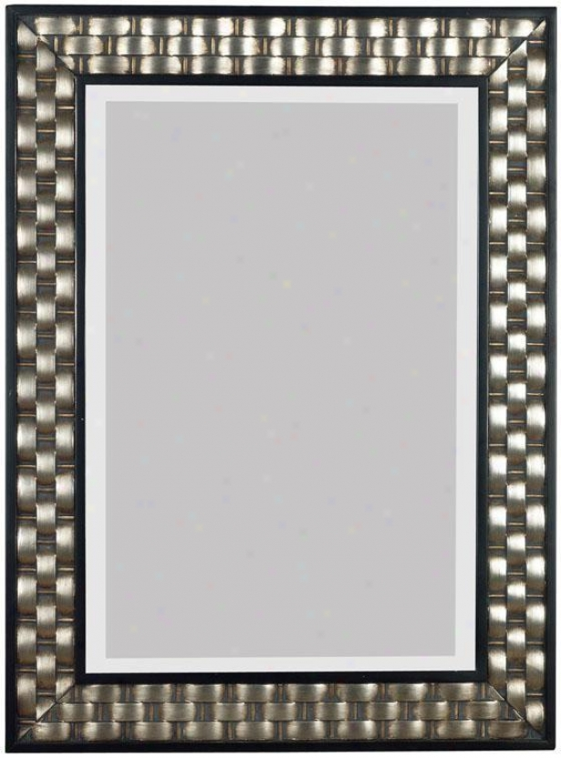 """checkers Wall Mirror - 38""""hx28""""w, Silver"""