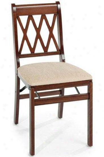 Cherry Lattice Folding Chair - Set Of 2 - Cherry, Tan