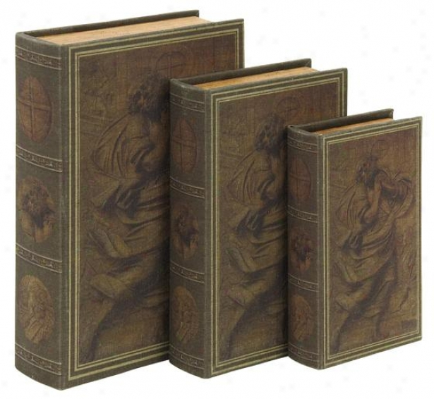 Cherub Book Box - Set Of 3 - Set Of Three, Distressed