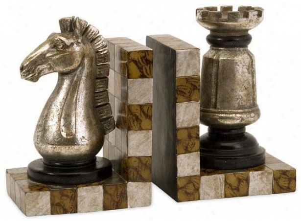 Chess Bookends - Set Of 2 - Set Of 2, Brown