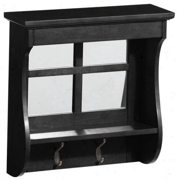 Chesterfield 2-hook Mirrored Wall Shelf - 2 Hooks, Black
