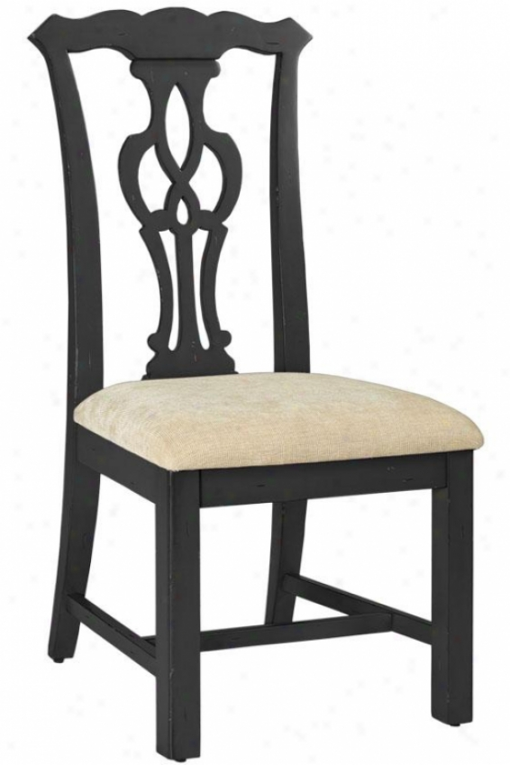 """chippendale-stgle Side Chair - 42""""h, Black"""