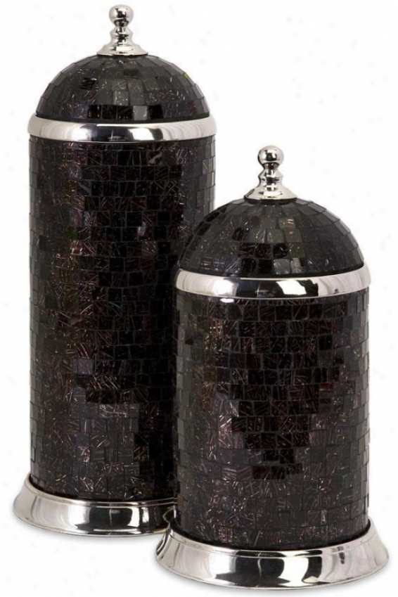 Choco Canisters - Set Of 2 - Set Of 2, Black