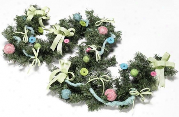 Christmas Craft Faux Garland - 6', Pink/blue/green