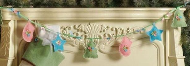 Christmas Craft Ornament Garland - 6', Pink/blue/green