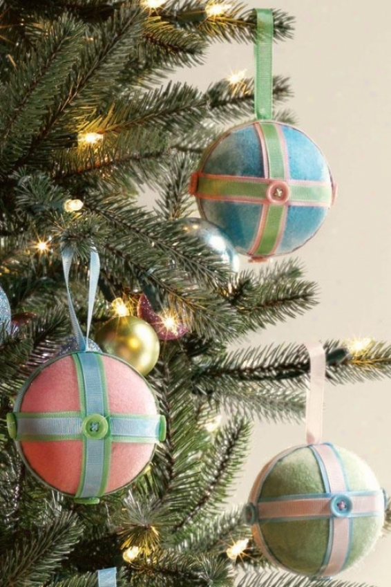 Christmaz Craft Ribbon And Button Ornaments - Set Of 3 - Set Of Three, Pink/blue/green