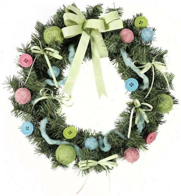 """""""christams Craft Wreath - 2""""0""""hx3.5""""""""wx20""""""""d, Pink/blue /green"""""""