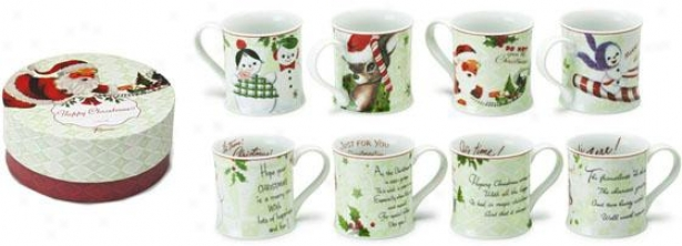 """christmas Muts - Set Of 4 - 4""""hx2""""w, Holiday"""