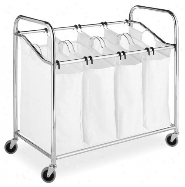 """chrome & Canvas 4-sectlon Laundry Sorter - 33""""hx36""""wx20""""d, White/chrome"""
