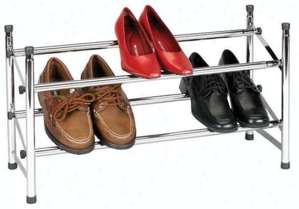 """chrome Expandable Shoe Rack - 14.25""""hx24""""w, Silver Chrome"""