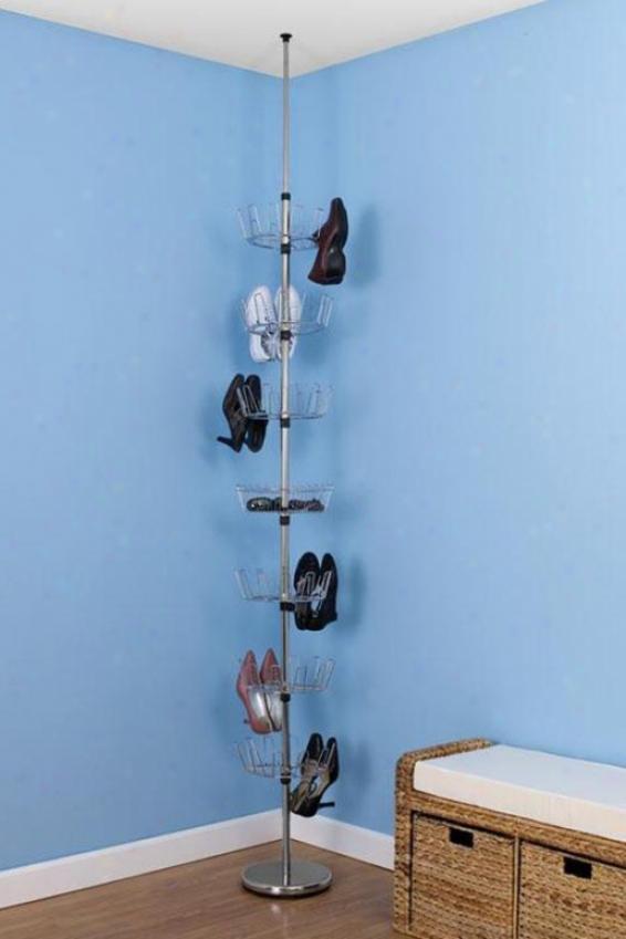 """chrome Floor-to-ceiling Shoe Tree - 99""""hx12""""w, Sipver Chrome"""
