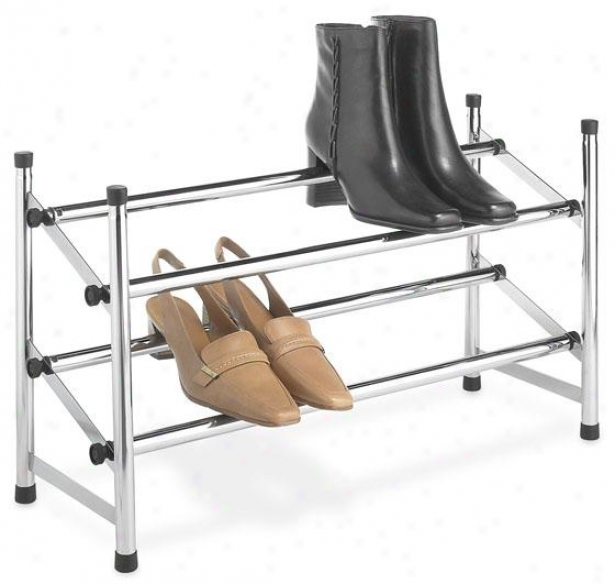 """chrome Shoe Rack - 14""""hx25""""wx9""""d, Silver Chrome"""