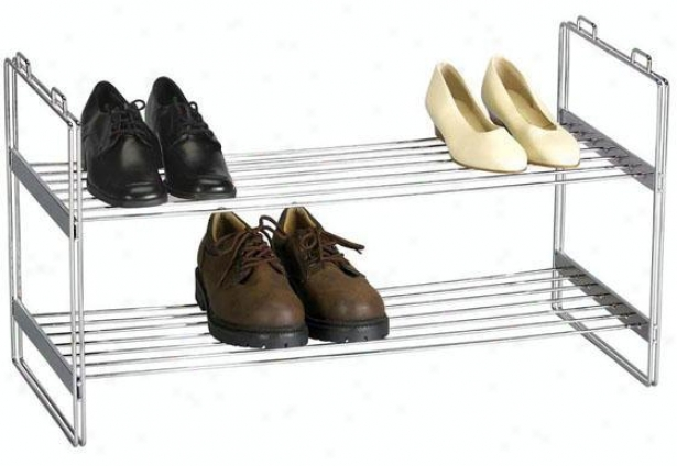 """chrome Stackable Shoe Shelf - 16.5""""hx12""""w, Silver Chtome"""