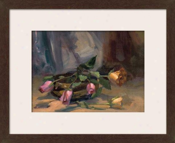 """cinnamon Rose Framed Wall Art - 27""""hx33""""w, Matted Espresso"""