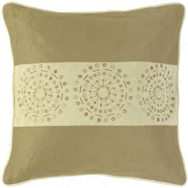 """circles And Stripes Pillows - Set Of 2 - 18""""x18"""", Khaki/tan"""