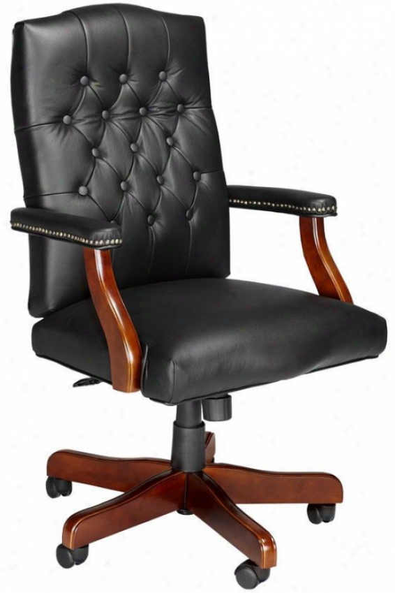 First-rate Office Chair - Cherry Wood Fns, Black