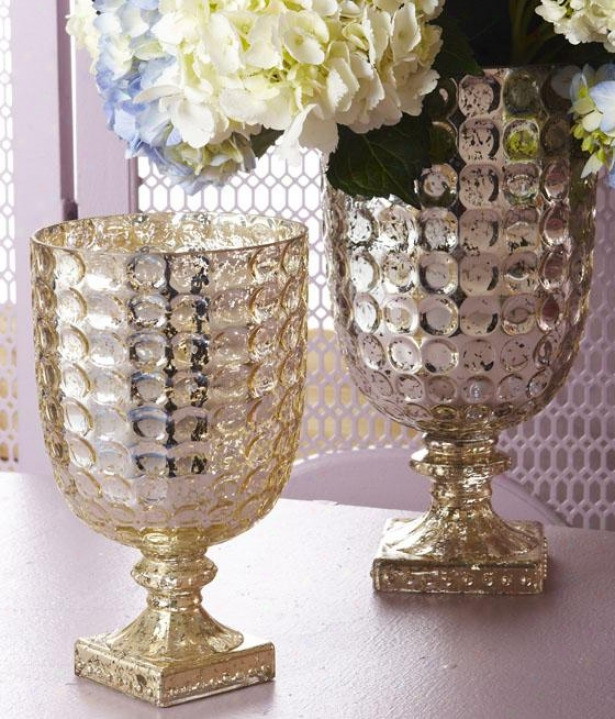 Classique Goblet Candleholder - Set Of 2 - Set Of Two, Antiqued Gold