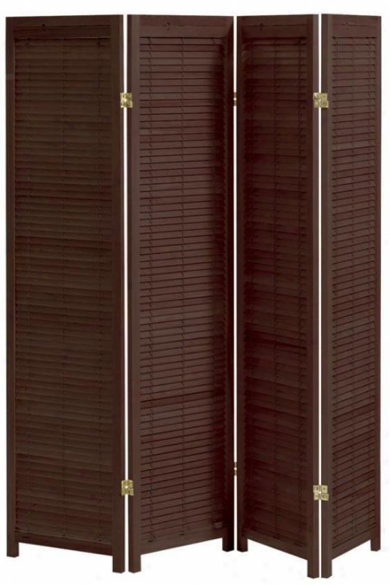 Clayton 4-panel Shutter Room Divider - Four-panel, Brick Red
