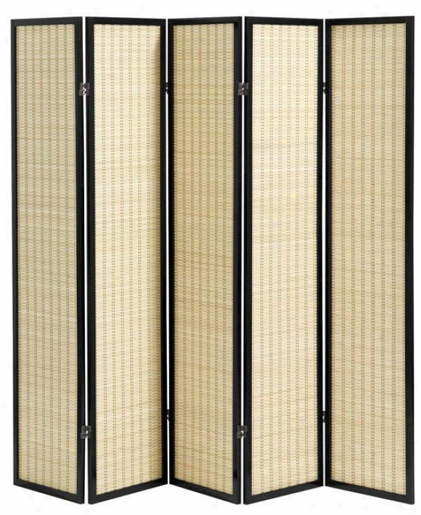 Clayton 5-panel Bamboo Room Divider - Five-panel, Black