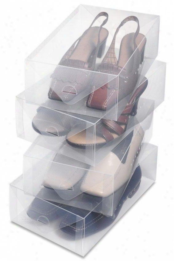"""clear Vue Women's Shoe Box - Set Of 4 - 4""""hx7.5""""wx12""""d, White"""