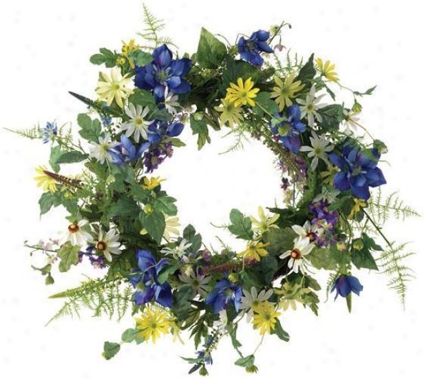 """clematis Wreath - 22"""", Blue"""