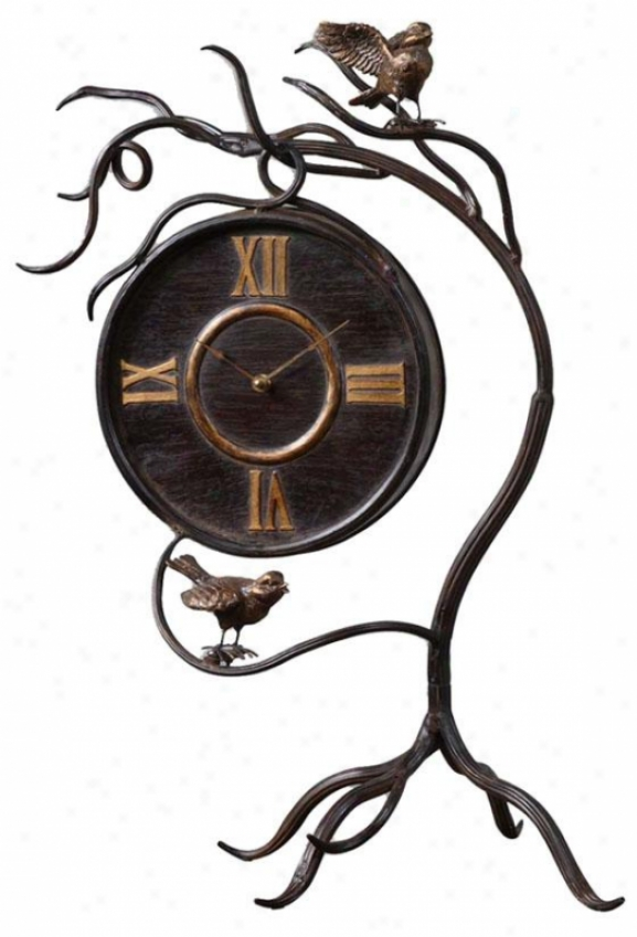 """climbing Vine Clock-  26 X 15 X 12""""d, Brown"""