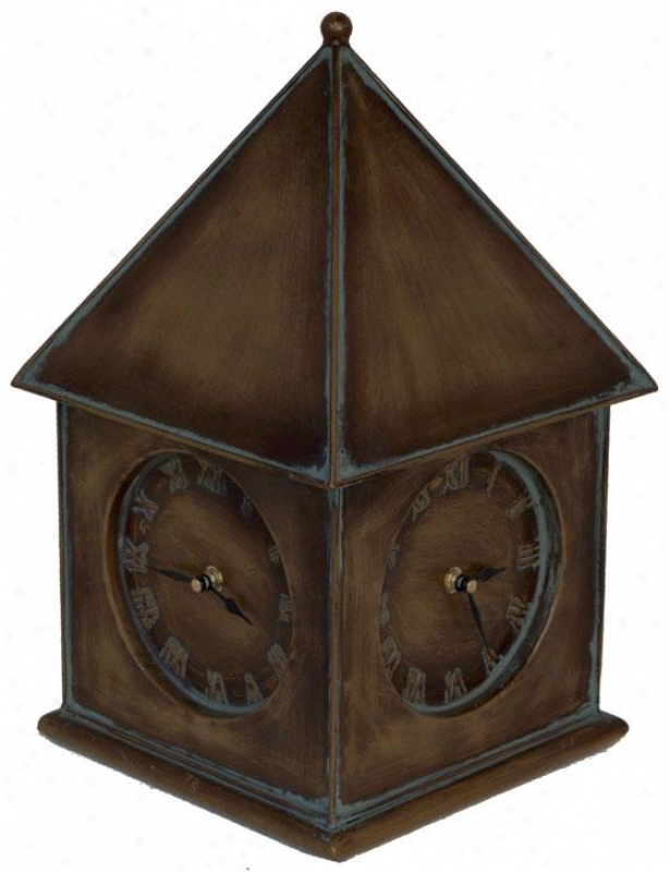 """clockhouse 4-sided Clock - 15.5""""hx9.5""""squa, Pumpkin"""