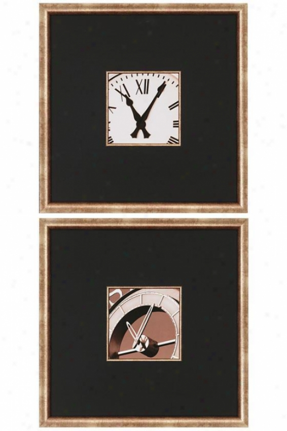 Clocks Ii Wall Art - Set Of 2 - Set Of 2, Black