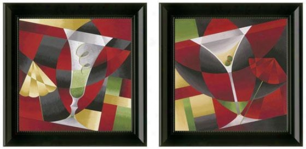 Cocktails Framed Wall Art - Plant Of 2 - Set Of Two, Red