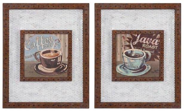 Coffee Brew Wall Art - Set Of 2 - Set Of 2, Rust Multi