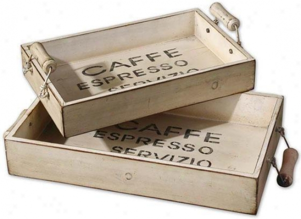 Coffee Trays - Set Of 2 - Sey Of 2, Ivory