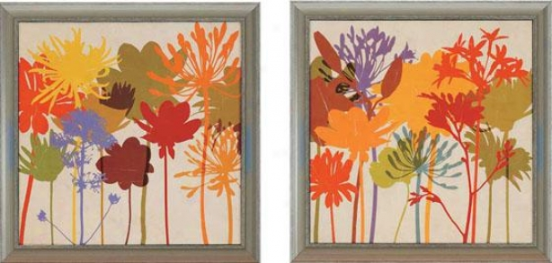 Colorful Bloom Wall Cunning - Set Of 2 - Set Of Two, Multi