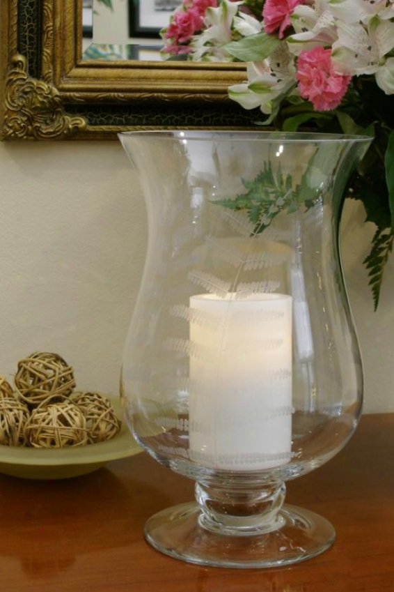"""concordia Etched Leaf Footed Hurricane Candle - 15h X 9w X 9""""d, Clear Etched"""